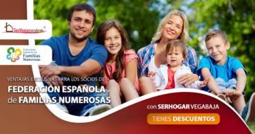 Ventajas exclusivas con la Federación Española de Familias Numerosas con Con SerHogar Vega Baja